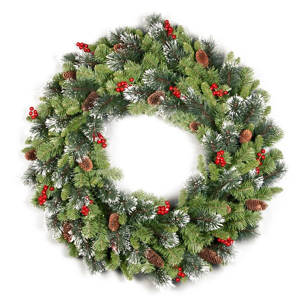 Crestwood Spruce 36 Wreath with Cones, Glitter and Berries by Darby Home Co