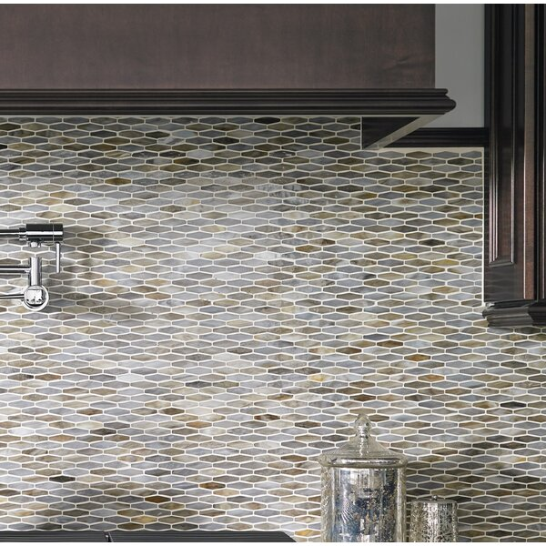 Mochachino Hexagon Glass Mosaic Tile in Taupe by M