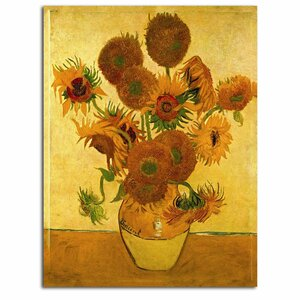 Vase with Sunflowers by Vincent Van Gogh Painting Print on Canvas by Trademark Fine Art