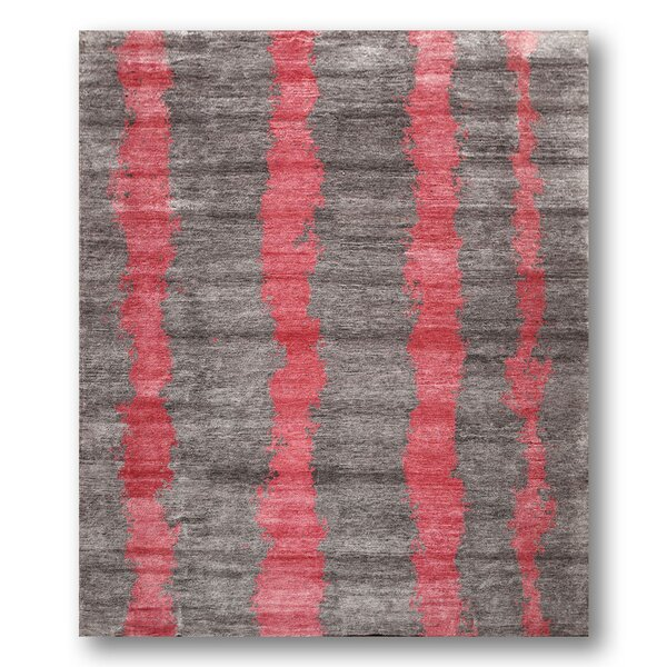 One-of-a-Kind Lossett Tibetan Contemporary Hand-Knotted Gray/Pink Area Rug by Latitude Run