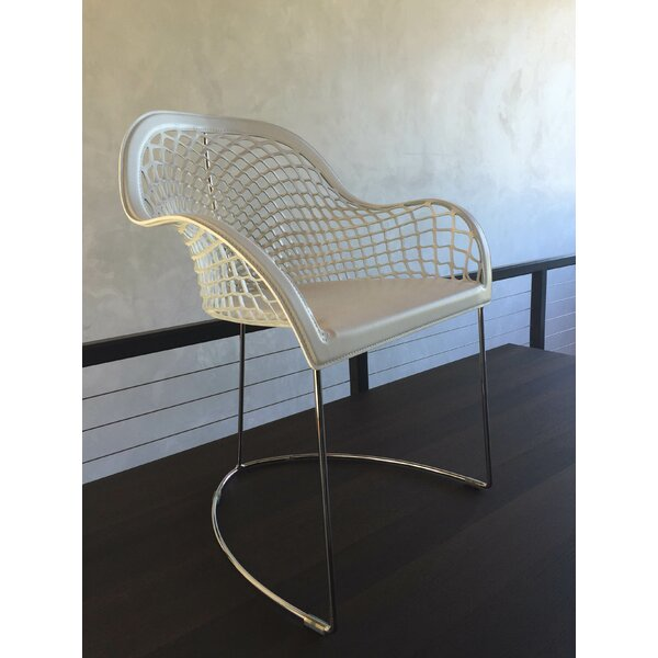 Guapa Leather Upholstered Metal Arm Chair in Beige by Midj Midj