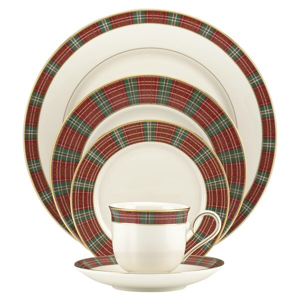 Winter Greetings Plaid 5 Piece Place Setting, Service for 1 by Lenox