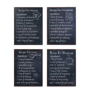 Bistro Metal Recipes 4 Piece Graphic on Plaque Art Set (Set of 4) by Creative Co-Op