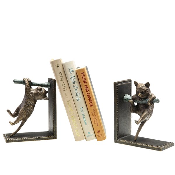 Climbing Cat and Branch Book Ends (Set of 2) by SPI Home