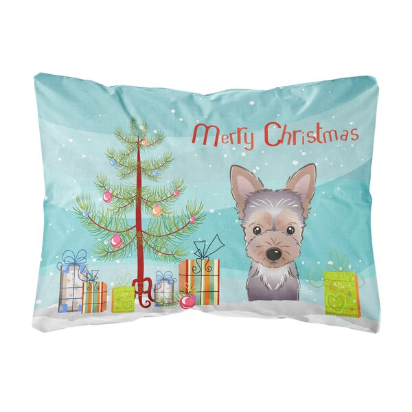 Kearny Christmas Tree and Yorkie Puppy Fabric Indoor/Outdoor Throw Pillow by The Holiday Aisle
