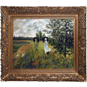 The Promenade Near Argenteuil' by Monet Framed Painting on Canvas by Overstock Art