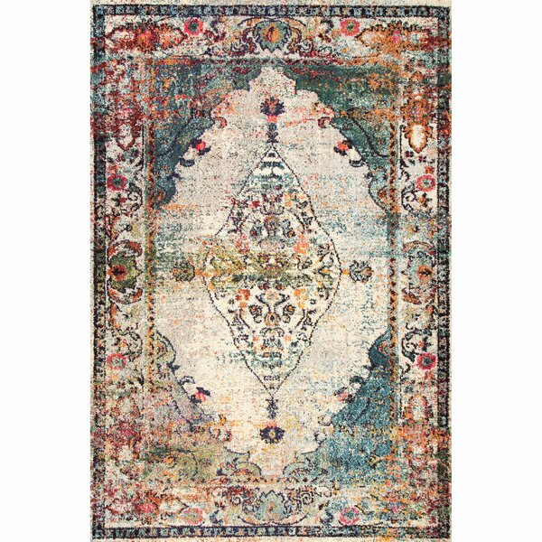 Tamalpais Blue/Beige Area Rug by World Menagerie