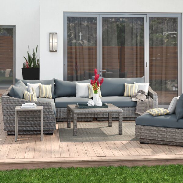 Castelli 6 Piece Rattan Sunbrella Sectional Seating Group With Cushions By Wade Logan