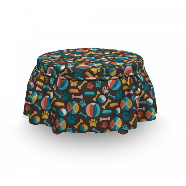 Puppy Food Traces And Toys Ottoman Slipcover (Set Of 2) By East Urban Home