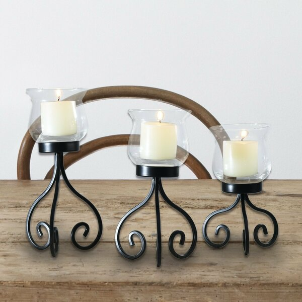 3 Piece Glass Candelabra Set by Adeco Trading