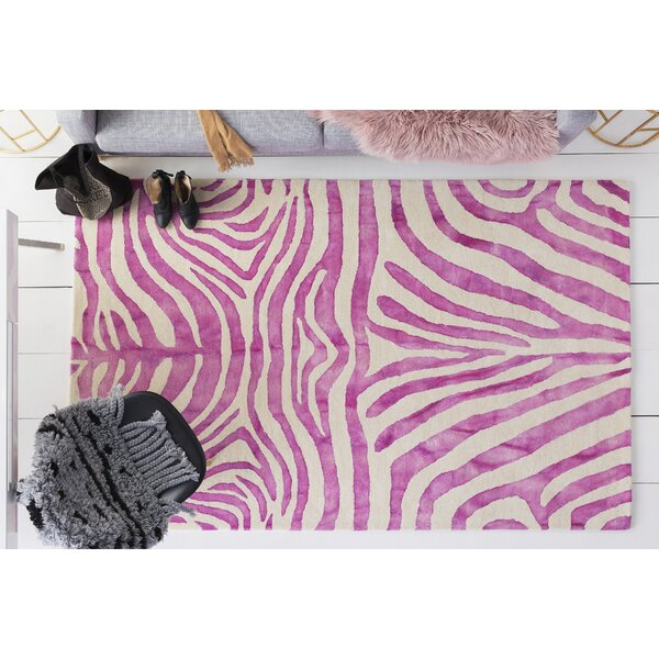 Petunia Hand-Tufted Wool Pink Area Rug by Mercer41