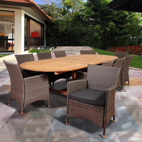 Alrun International Home Outdoor 11 Piece Teak Dining Set with Cushions by Brayden Studio