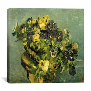 Basket of Pansies on a Small Round Table by Van Gogh Painting Print on Canvas by iCanvas