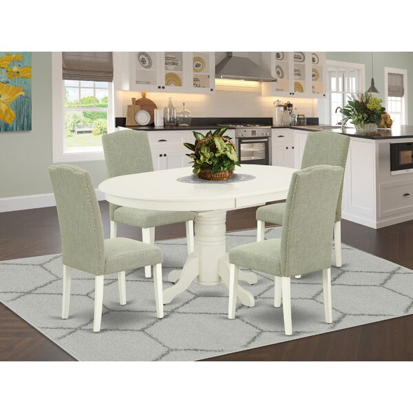 Roxanna 5 Piece Extendable Solid Wood Dining Set by Alcott Hill Alcott Hill