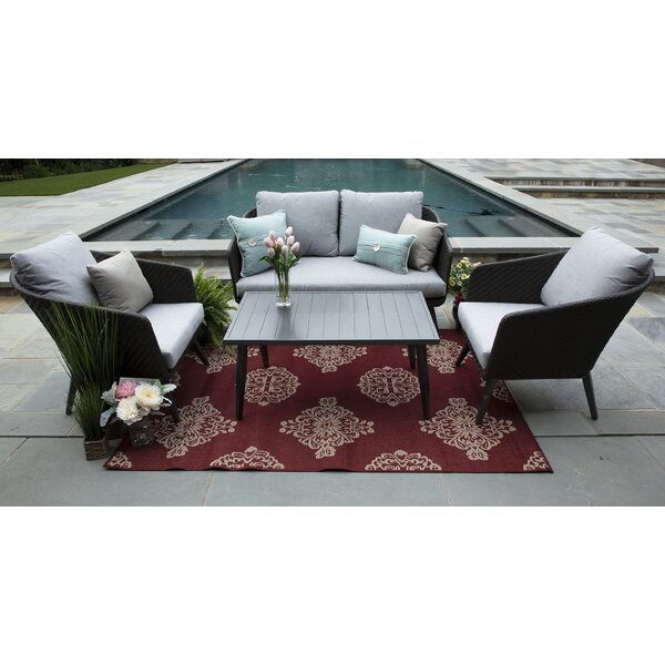 Eaglin 4 Piece Rattan Sunbrella Sofa Set with Cushions (Set of 4) by Corrigan Studio