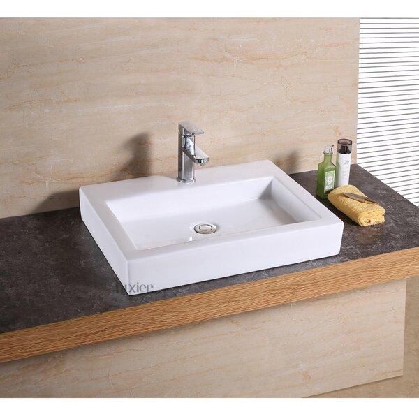 Vanity Art Basin Ceramic Rectangular Vessel Bathroom Sink by Luxier