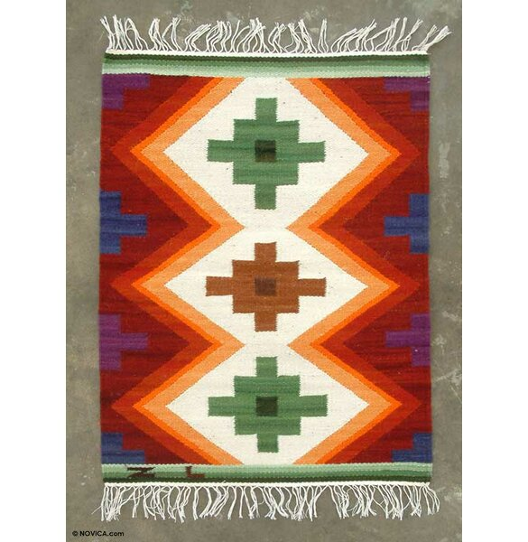Hand-Woven Red/Cream Area Rug by Novica