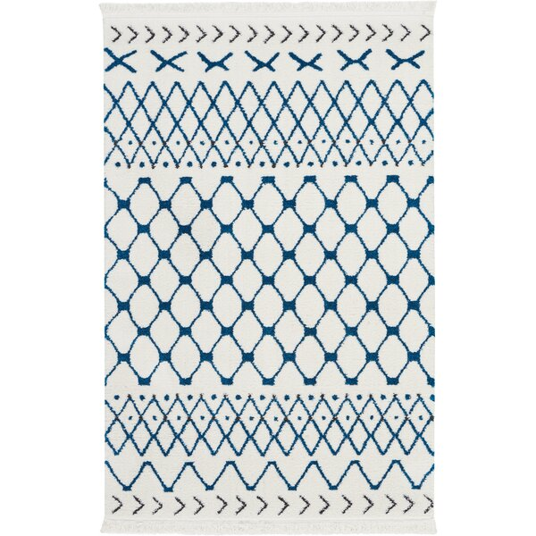 Penwell White/Blue Area Rug by Bungalow Rose