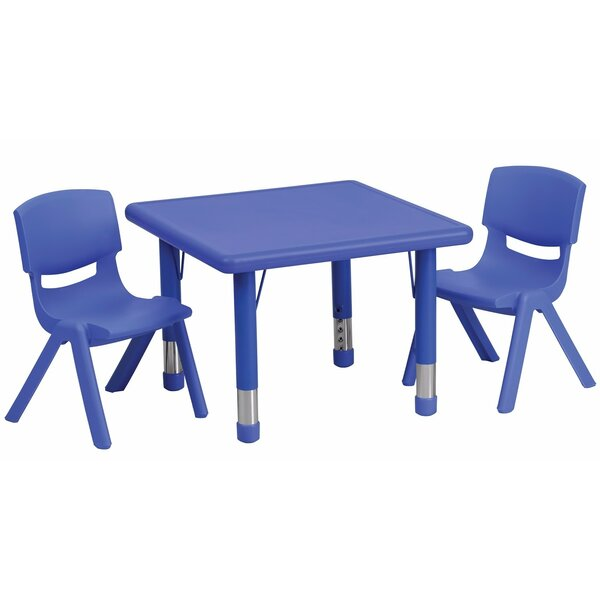 Adjustable Plastic 3 Piece Square Activity Table and Chair Set by Offex