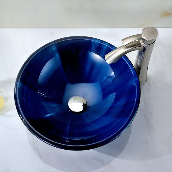 Meno Glass Circular Vessel Bathroom Sink by ANZZI