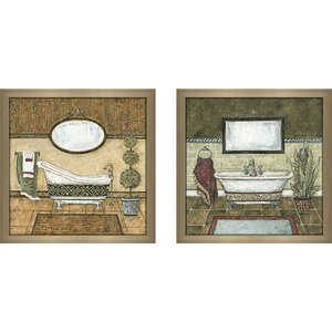 The Royal Suite' 2 Piece Framed Acrylic Painting Print Set Under Glass by Charlton Home