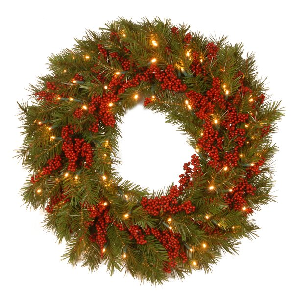 Decorative Pre-Lit Valley Pine Wreath with 50 Battery-Operated White LED Lights by The Holiday Aisle