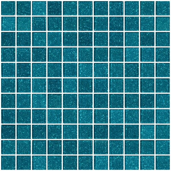 1 x 1 Glass Mosaic Tile in Glossy Turquoise blue by Susan Jablon