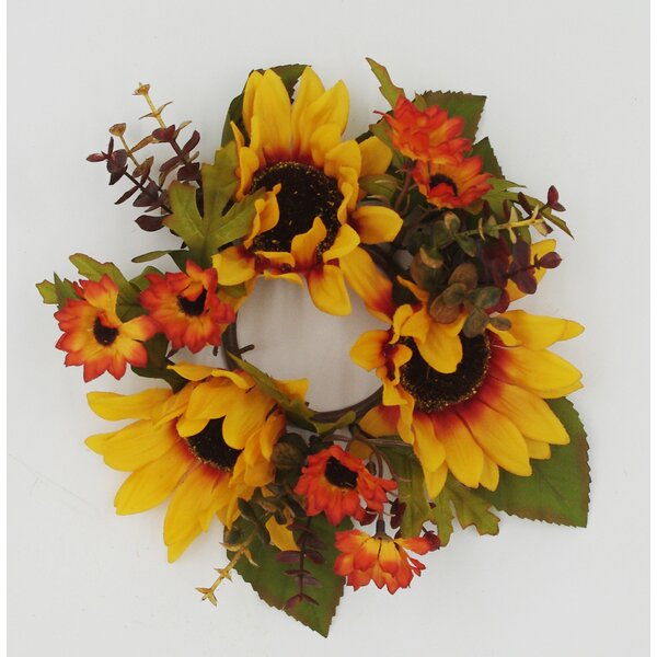 10 Autumn Sunflower Candle Ring Wreath by August Grove