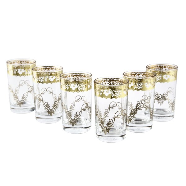 Moroccan Fez Gold Glasses (Set of 6) by Casablanca Market