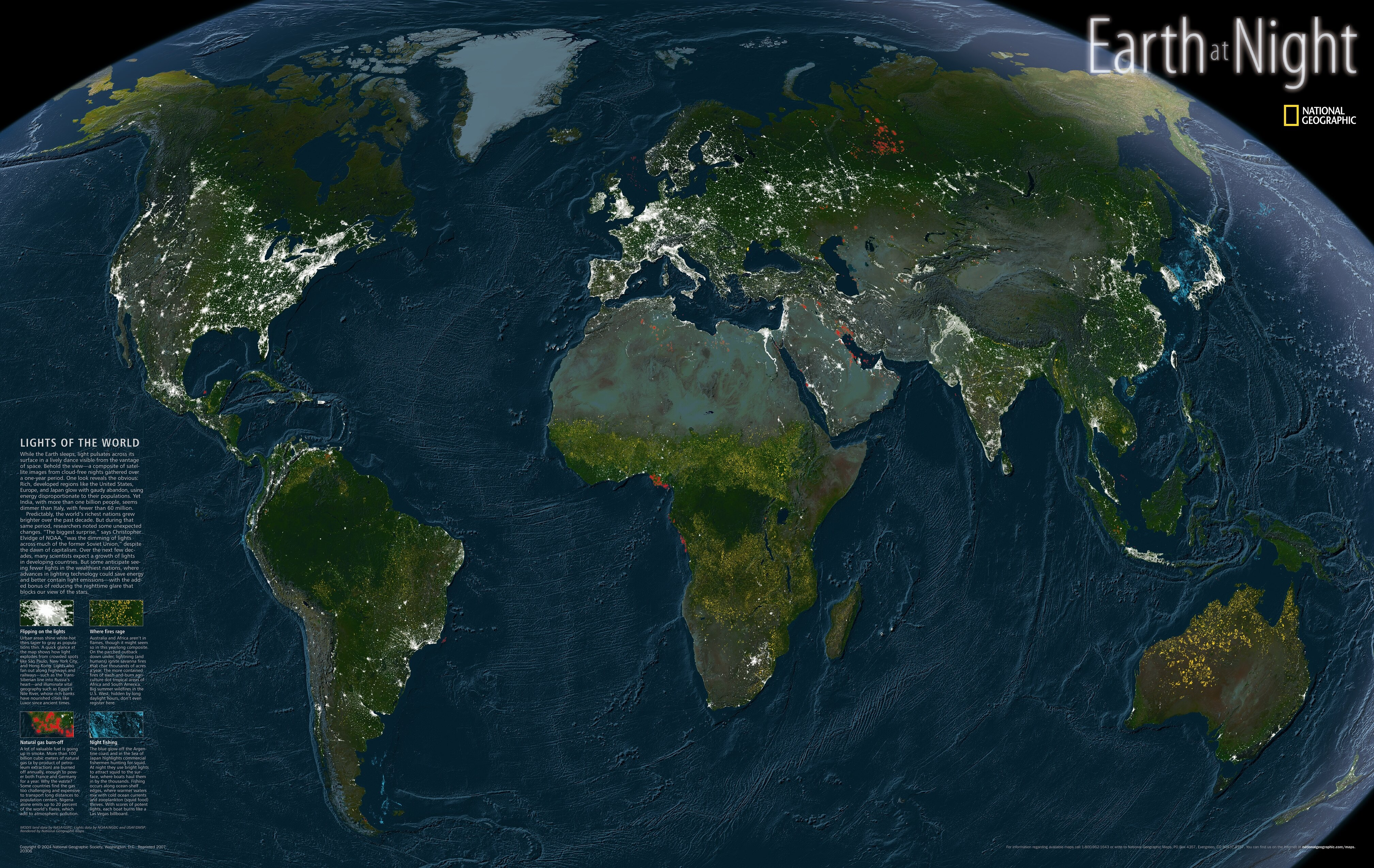 Geographic Map Of Earth.National Geographic Maps Earth At Night Map Wayfair