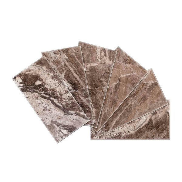 Crystal Skin 3 x 6 Glass Subway Tile Brown in Brown by SkinnyTile