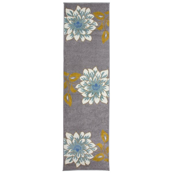 Kendal Floral Large Beige/Gray Area Rug by August Grove