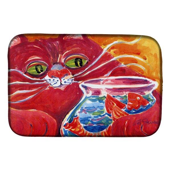 Big Cat at the Fishbowl Dish Drying Mat by Caroline's Treasures