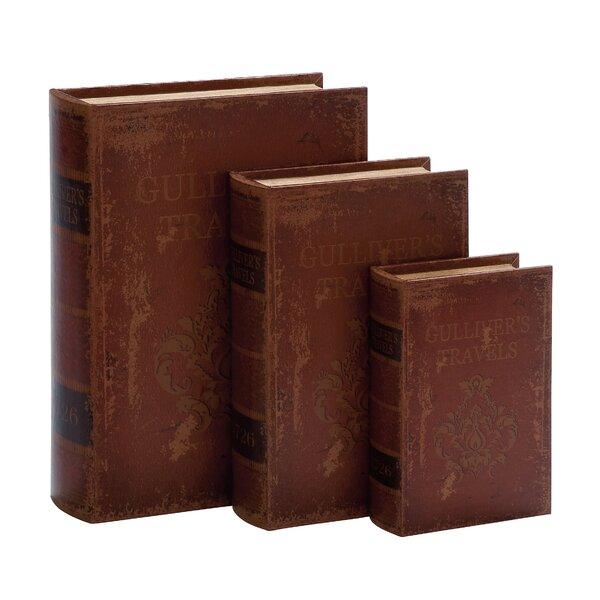 Wood Leather 3 Piece Book Box Set by Cole & Grey