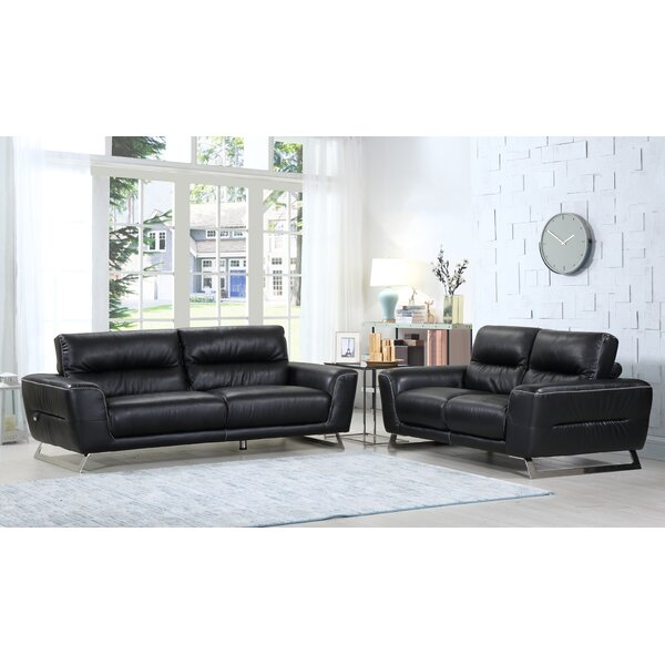 Hawkesbury Common Luxury Leather 2 Piece Living Room Set By Orren Ellis Herry Up