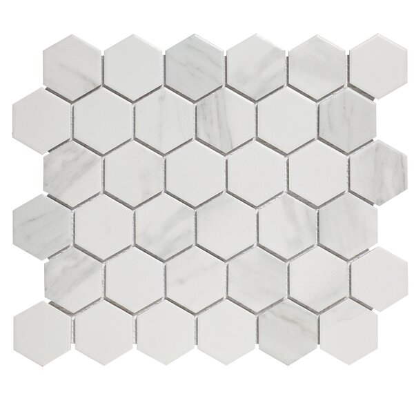 Barcelona 2 x 2 Porcelain Mosaic Tile in Carrara Marble by The Mosaic Factory