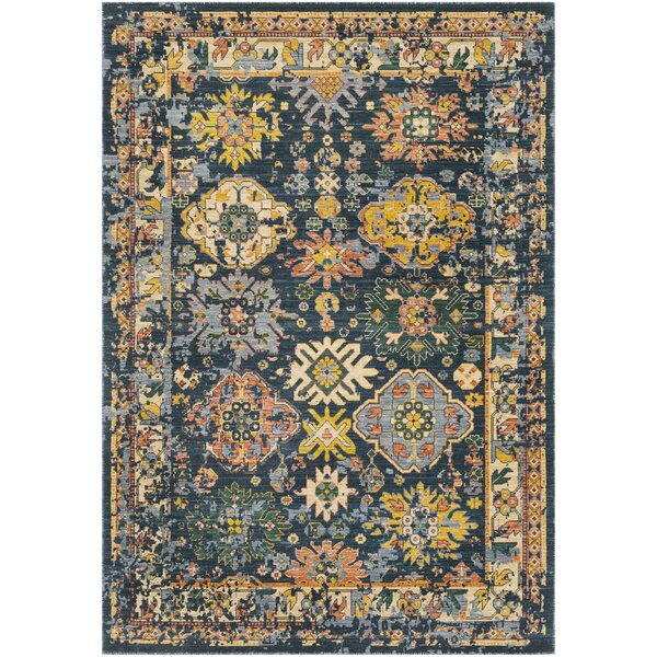 Rand Distressed Vintage Teal/Dark Green Area Rug by Bungalow Rose