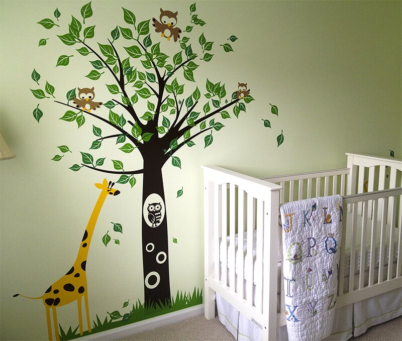 Big Tree With Giraffe Wall Decal