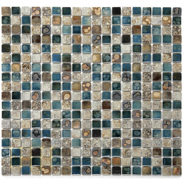 Terrene 0.6 x 0.6 Vale Porcelain Mosaic Tile in Multi by Solistone