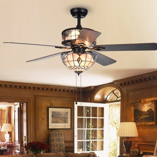 52 Cerny Baroque 5 Blade Ceiling Fan by Fleur De Lis Living