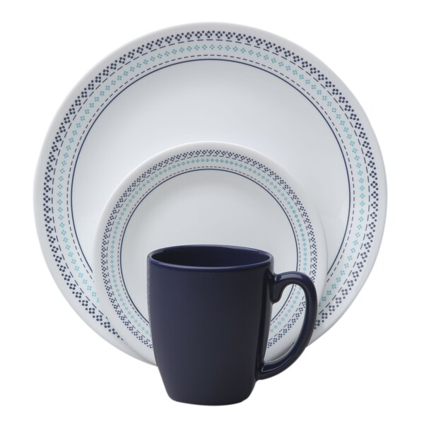 Livingware Folk Stitch 16 Piece Dinnerware Set, Service for 4 by Corelle