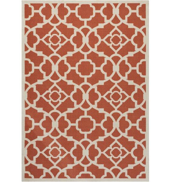 Tarlton Sienna Burnt Orange/White Indoor/Outdoor Area Rug by Alcott Hill
