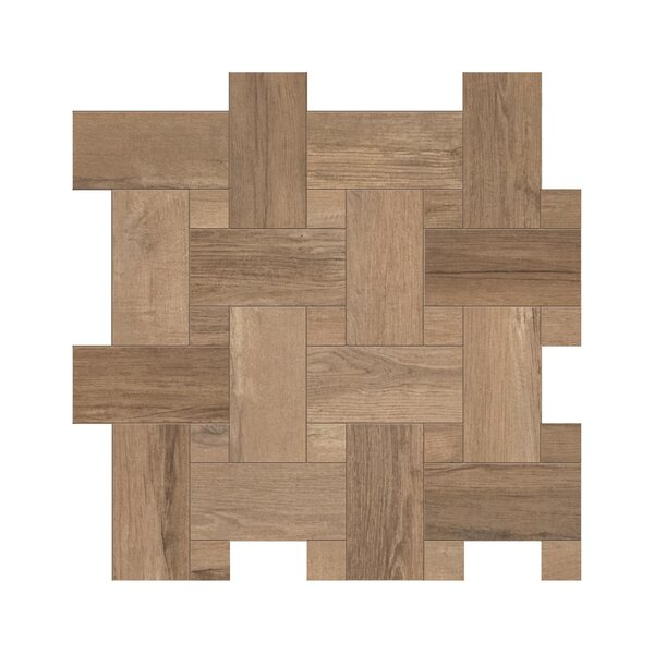Travel Intreccio Décor 12 x 12 Porcelain Wood Look Tile in South Gold by Travis Tile Sales