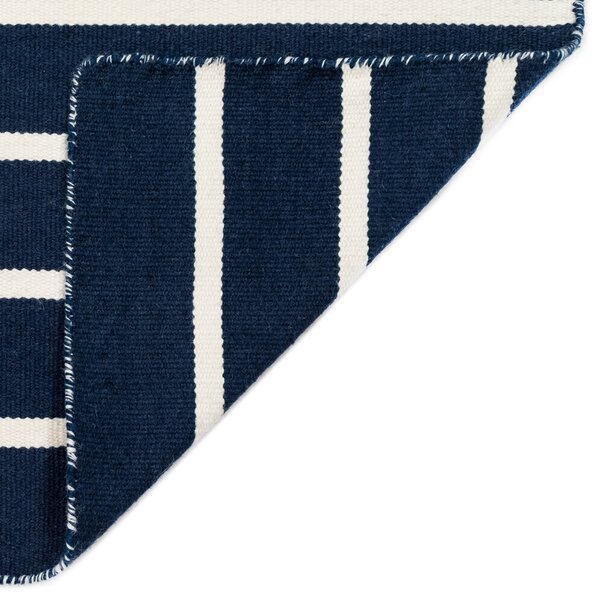 Ranier Pinstripe Striped Handmade Flatweave Navy/White Indoor/Outdoor Area Rug by Beachcrest Home Beachcrest Home