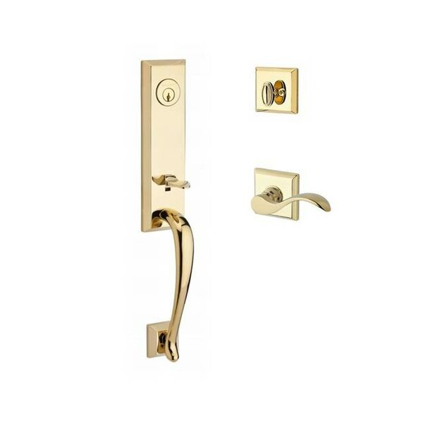 Del Mar Single Cylinder Handleset with Curve Door Lever and Traditional Square Rose by Baldwin
