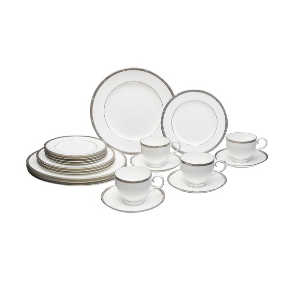 Rochelle Platinum Bone China 20 Piece Dinnerware Set, Service for 4 by Noritake