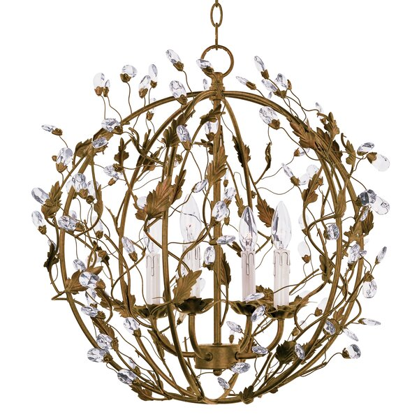 Kaiya 4-Light Candle Style Globe Chandelier By Bungalow Rose