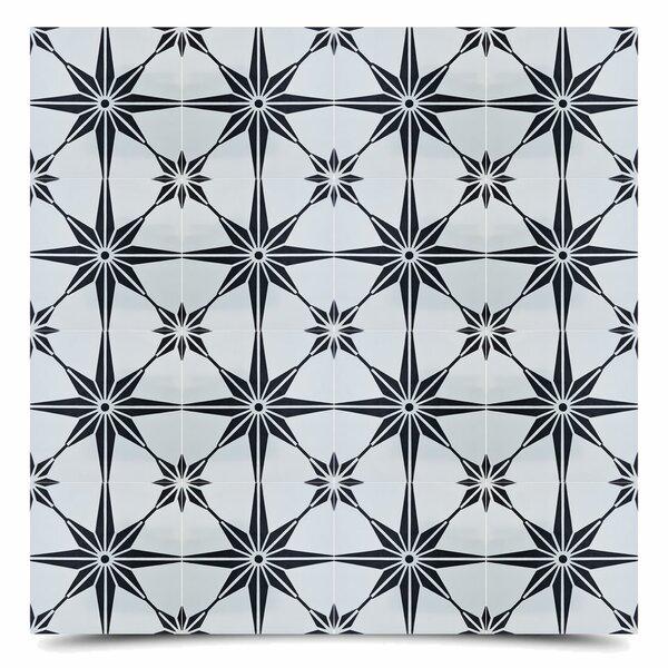 Tafilalt 8 x 8 Cement Field Tile in Black/Gray by Moroccan Mosaic