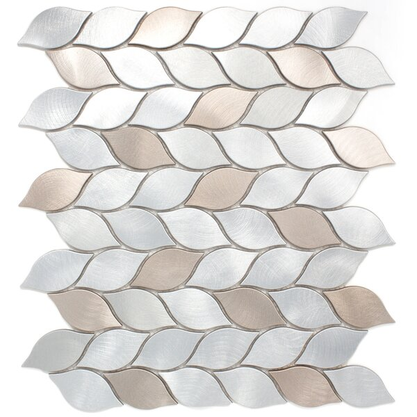 Leaf Shape 2.75 x 1.25 Metal Mosaic Tile in Silver/Bronze by Multile