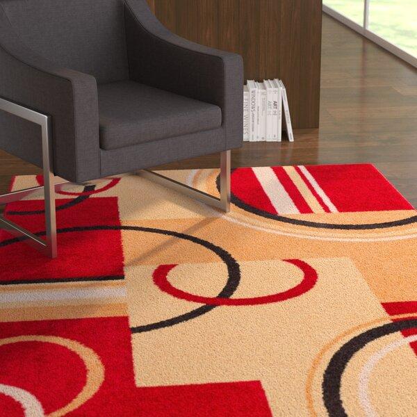 Oliver Red/Beige Area Rug by Ebern Designs